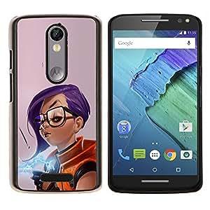 LECELL--Funda protectora / Cubierta / Piel For Motorola MOTO X3 3rd -- Chica púrpura del pelo --