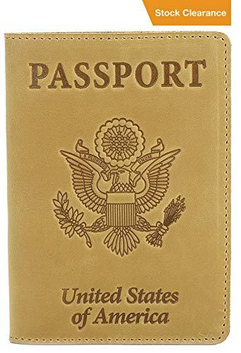 Shvigel Leather Passport Cover - Holder - for Men & Women - Passport Case (Light Yellow Vintage) ()