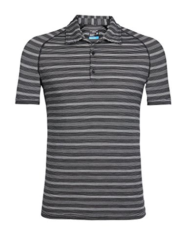 (Icebreaker Merino Men's Cool-Lite Sphere Short Sleeve Polo Tee, Black/Snow/Stripe, Large)