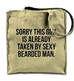 Sorry This Girl Is Already Taken By Sexy Bearded Man Couple Funny Natural Canvas Tote Bag, Cloth Shopping Shoulder Bag