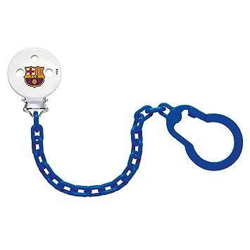 NUK, Cadena Sujeta Chupete del Barça para Bebé, Plástico, con Clip Metálico, Color Azul