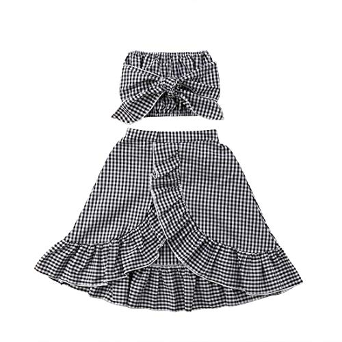 Baby Girl Toddler 2/3 Sleeve Black Crop Top + Grey Shorts Bowknot Skirts Outfit Clothes 2Pcs/ Set (Plaid, 6-12 Months) by Mornbaby (Image #7)