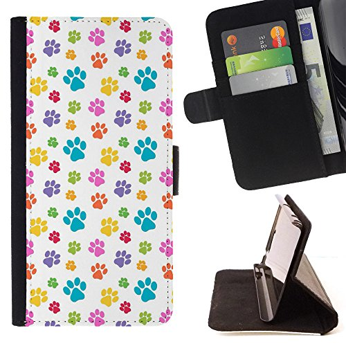 Wallet Paw Prints (FJCases Paws Print Animal Slim Wallet Card Holder Flip Leather Case Cover for Apple iPhone 6 / 6S)
