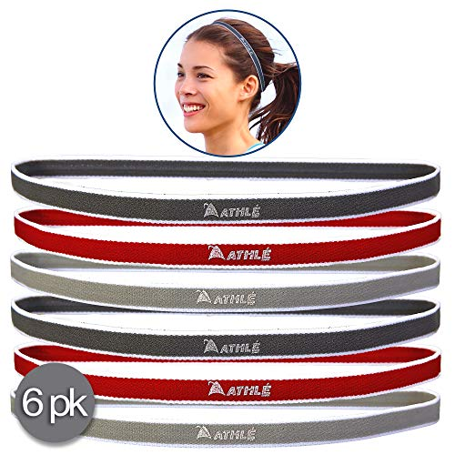 (Athlé Skinny Sports Headbands 6 Pack - Men's and Women's Elastic Hair Bands with Non Slip Silicone Grip - Lightweight and Comfortable Sweatbands Keep You Cool and Dry - Red, Dark and Light Grey)