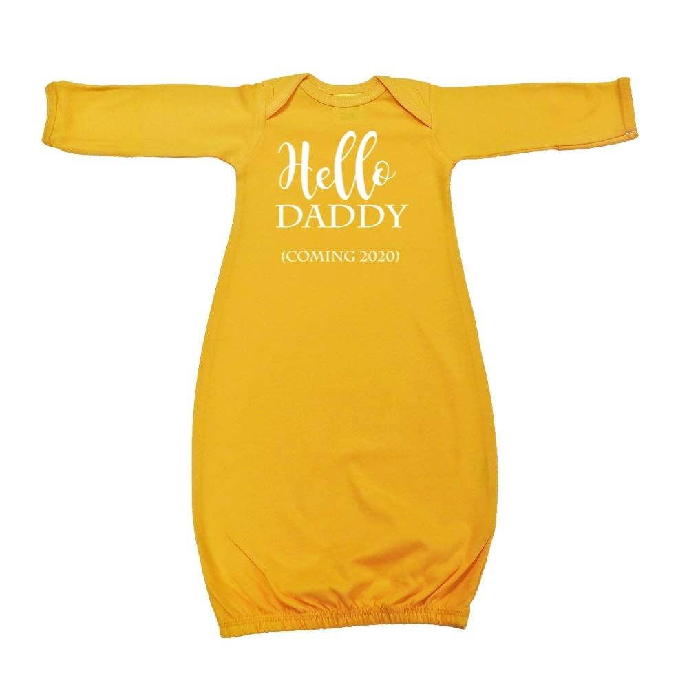 Coming 2020 Announcement Baby Cotton Sleeper Gown Hello Daddy
