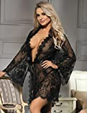 Black Lace Sheer Robe - Swim Cover-Up - Bridal Robe