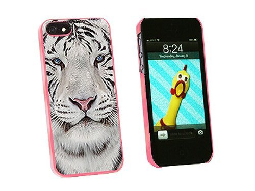 Graphics and More White Bengal Tiger with Blue Eyes Snap-On Hard Protective Case for iPhone 5/5s - Non-Retail Packaging - Pink
