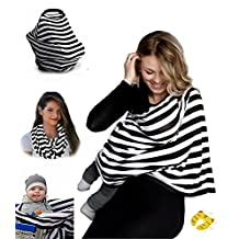 Nursing Breastfeeding Cover Scarf - Baby Car Seat Canopy, Shopping Cart, Stroller, Carseat Covers for Girls and Boys - Best Multi-Use Infinity Stretchy Shawl(Door Slam Stopper Include)