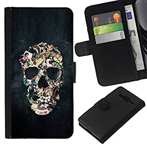 iBinBang / Flip Funda de Cuero Case Cover - Biker Humo Negro cráneo Vida Muerte - Samsung Galaxy Core Prime