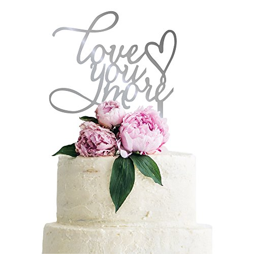 P Lab Love You More Cute Wedding Cake Topper Acrylic Decoration for Special Event Silver Mirror by Personalization Lab