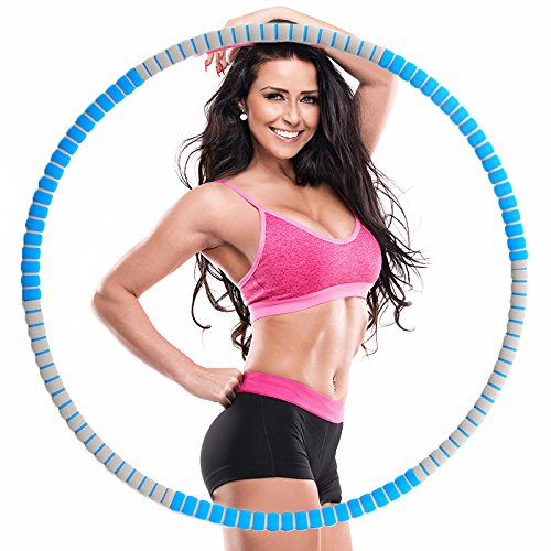 Weighted Hula Hoop -2.7lbs-5lbs-Free to add weight-Heavy Fitness Hoop - Weight Loss Workout Equipment - the Funnest Way to Lose Weight - Fat Burning (Blue and gray)