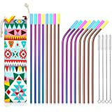 Teivio Set of 16 Stainless Steel Straws with Carry Bag, FDA-Approved Drinking Metal Reusable Straws with Cleaning Brush and Silicone Tips and case for 30 Oz - Multicolor, Rainbow, Copper