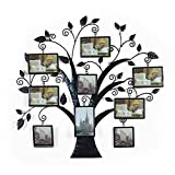 Brown Black Decorative 9 Opening Collage Bronze Bronze Iron Metal Wall Hanging Family Tree Picture Photo Frame, 9 Opening, 4×6″ 4×4″ For Sale