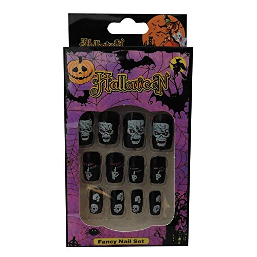 12 Halloween Themed Fake Nails with Glue (HN5)]()