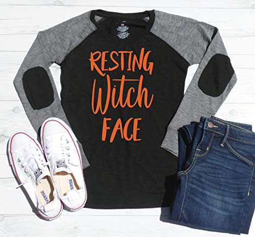Resting Witch Face - Elbow Patch Shirt - Halloween Long Sleeve Shirt - Mom Halloween Shirt - Cute Halloween T-Shirt - Halloween Party Tee ()