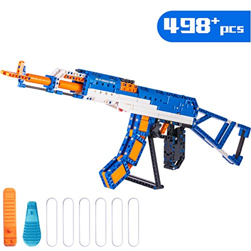 iPlay, iLearn 498 PCS DIY Building Blocks, 3D Mechanical Jigsaw Puzzle Gun Toys, Rifle Model Kit, Learning Educational Developmental Gift for Age 6, 7, 8, 9, 10 Year Olds Kids Boys Girls Child Teens ()