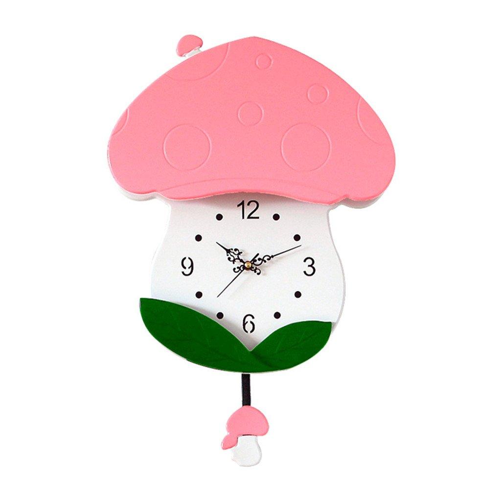 現代の漫画の木製の壁の時計クリエイティブシンプルなキノコ子供の装飾の居間のベッドルームミュート20インチ,Pink B07D6MZ3M7 Pink Pink