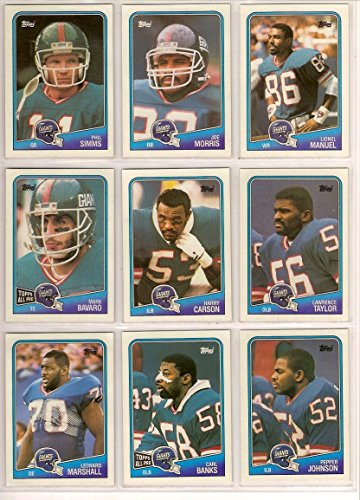New York Giants 1988 Topps Football Team Set (16 Cards)** George Adams, Raul Allegre, Carl Banks, Mark Bavaro, Harry Carson, Erik Howard, Pepper Johnson, Terry Kinard, Sean Landeta, Leonard Marshall, Lionel Manuel, Joe Morris, Lee Rouson, Phil Simms and Lawrence Taylor**