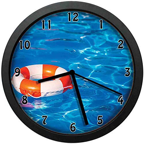 luckboy-zm Life Buoy in Crystal Clear Swimming Pool Summer Relaxing Vacation Sports Theme, Blue Orange White Wall Clock Nice for Gift or Office Home Unique Decorative Clock Wall Decor 12in with Frame