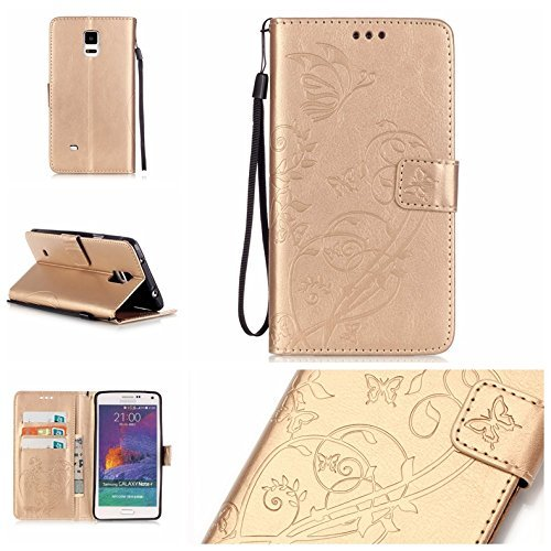 Samsung Galaxy Note 4 Case with Free Screen Protector,Leather Wallet Strap Slots Case Butterfly Embossed Design Full Protection Stand Case for Samsung Galaxy Note 4 - - Bag Liquid Boy Holster