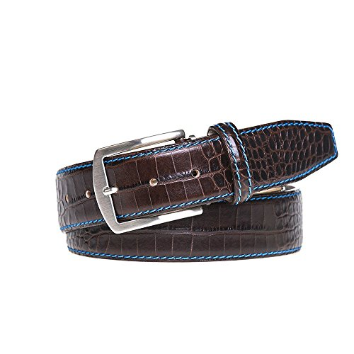 Dark Brown Italian Mock Croc Leather Belt