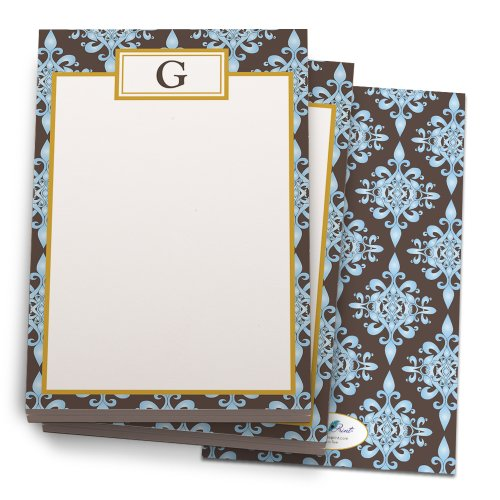 Sheet Notepad 24 (Blue and Chocolate 'Floral' Note Pad with 'G' Monogram. 24 Luxe Cover Stock Sheets per set. 2-pack.)