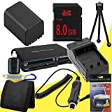 NP-FV100 Lithium Ion Replacement Battery w/Charger + 8GB SDHC Memory Card + Memory Card Reader/Wallet + Deluxe Starter Kit for Sony NEXVG10, NEXVG20 Interchangeable Lens HD Handycam Camcorder DavisMAX Accessory Bundle