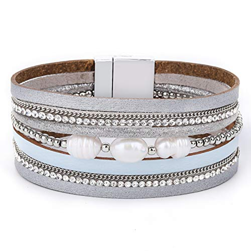 Pearl Magnetic - Womens Leather Cuff Bracelet - Braided Wrap Bangle Handmade Multi Layer Jewelry - with Alloy Magnetic Clasp - Bohemian Gift for Women, Mother,Girls ((Pearls)-Grizzly)