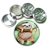 Cute Sloth Animal S2 Chrome Silver 2.5'' Aluminum Magnetic Metal Herb Grinder 4 Piece Hand Muller Herb & Spice Heavy Duty 63mm