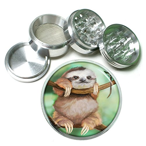 Cute Sloth Animal S2 Chrome Silver 2.5'' Aluminum Magnetic Metal Herb Grinder 4 Piece Hand Muller Herb & Spice Heavy Duty 63mm by Grind Me Fine