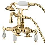 Kingston Brass CC1017T2 Heritage Vintage 3-3/8-Inch Leg Tub Filler with Hand Shower, Polished Brass