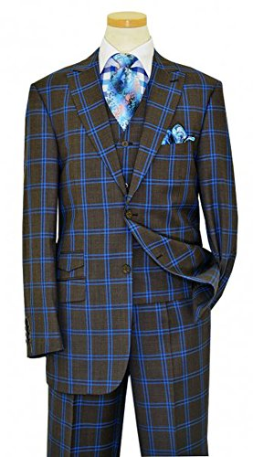 Charcoal Super 150's Wool Suit (Luciano Carreli Double Windowpanes Super 150's Wool Vested Suit (US 46L Jacket - 40 in. Waist, Charcoal Grey / Royal Blue))