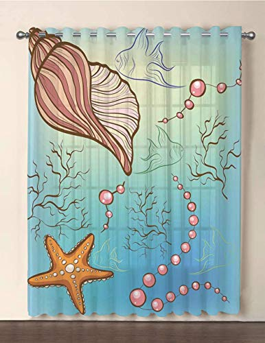 One Panel Extra Wide Sheer Voile Patio Door Curtain,Pearls Decoration,Under The Sea Theme Decor Pearls Shell Starfish Fish Nautical Decor Marine Life Image,Blue Pink,for Sliding Doors(108