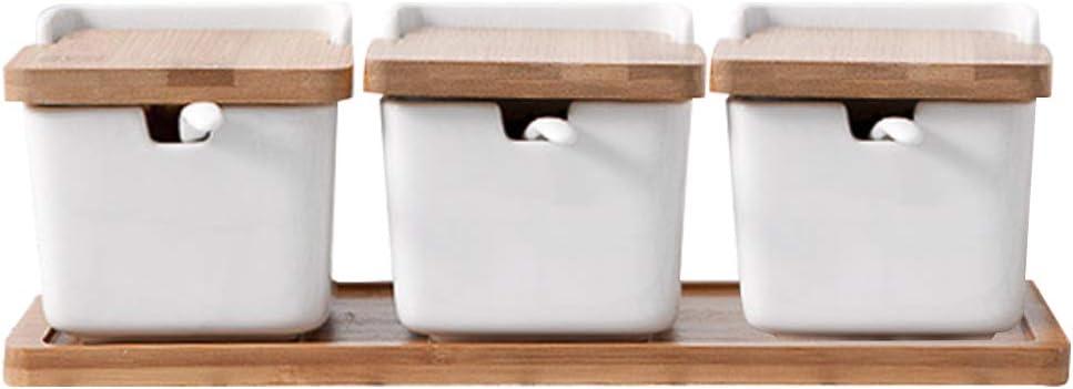 Pot /à sucre en c/éramique avec couvercle et cuill/ère Bol de sucre M/&W C/éramique blanche avec couvercle en bambou Contenants /à /épices Sali/ère