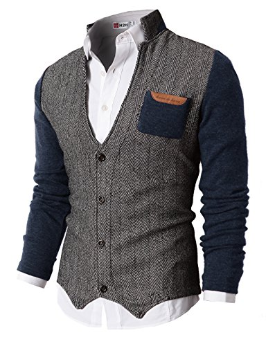 H2H Mens Herringbone Series Shawl Collar Cardigan Sweater NAVY US M/Asia L (KMOSWL015)