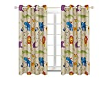 BGment Printed Blackout Curtains, Animal Zoo Kids Curtains for Bedroom Darkening, Classical Grommets, 2Panels (52'' Wx63 L, Curtains)