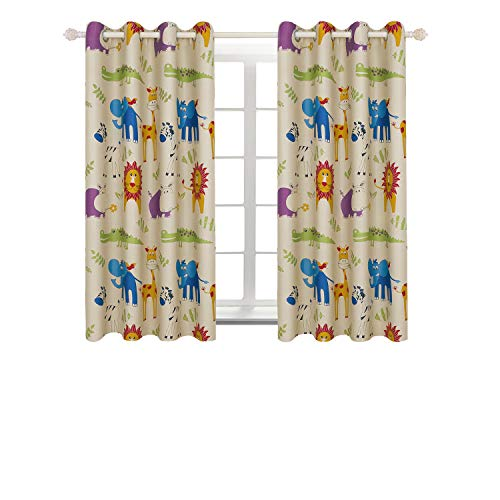BGment Printed Blackout Curtains, Animal Zoo Kids Curtains for Bedroom Darkening, Classical Grommets, 2Panels (52'' Wx63 L, Curtains) by BGment