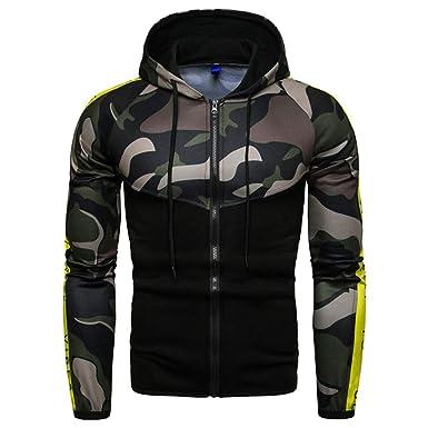 b81514200d5ea Emylone Men Autumn Winter Hooded Jacket Camouflage Floral Zipper Closure  Hoodies Letter Print Sleeve Sweatshirt: Amazon.in: Clothing & Accessories