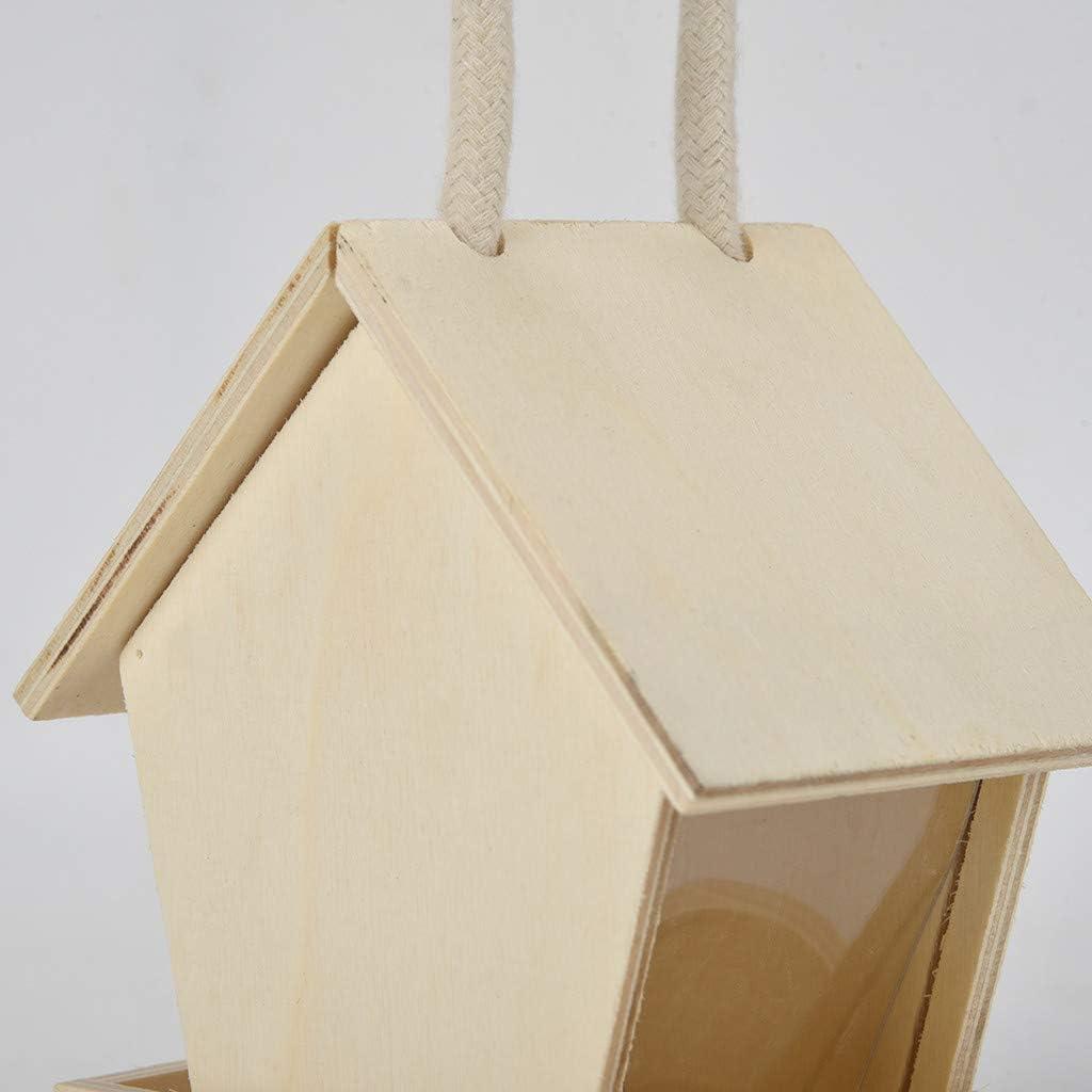 TwoCC Comedero de madera para p/ájaros salvajes Comederos colgantes Ventana de vista para decoraciones de jard/ín