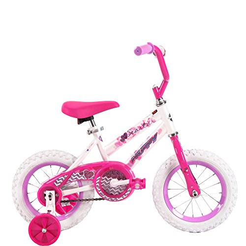 12 Inch Huffy Sea Star Kids Bike for Girls, Pink with Training Wheels