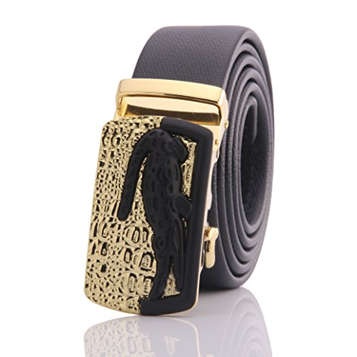 [Amedeo Exclusive Designer Leather Men's Belt (Black Belt - Gold & Black Crocodile Buckle)] (Gold Crocodile Belt)