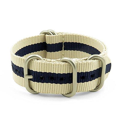 StrapsCo NATO Strap w/Matte Silver 5-Ring Ballistic Nylon Watch Band