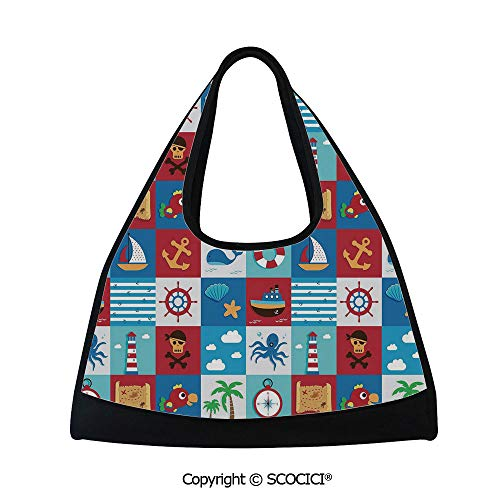 - Short distance travel bag,Cartoon Style Icons and Animals Maritime Sea Life Pirates Joyful Collection Decorative,Sports and Fitness Essentials(18.5x6.7x20 in) Multicolor
