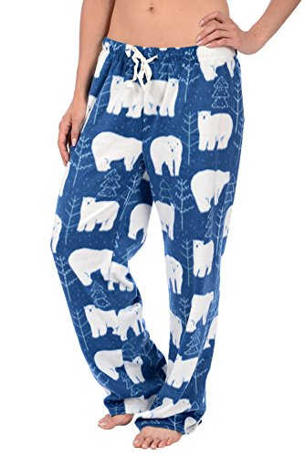 Cozy Loungewear Womens Printed Minky Fleece Pajama Pant With Plus Sizes