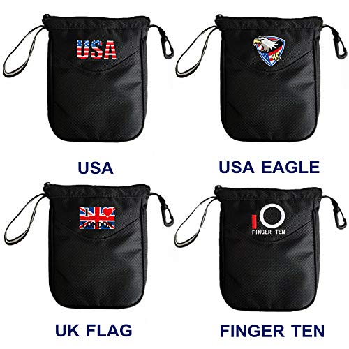 Golf Valuable Pouch Clip Zipper Hook to Bag, with Free 4 Pcs Golf Pencil and 1 Set Golf Brush Value Pack, Style Choice USA Flag Eagle UK (USA Eagle)