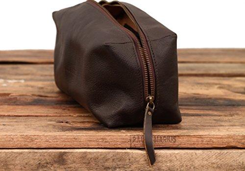 LE BARBIER Indus Marrone molto scuro borsa da tolette in pelle stile vintage PAUL MARIUS