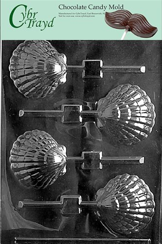 Cybrtrayd N021 Shell Lolly Chocolate Candy Mold with Exclusive Cybrtrayd Copyrighted Chocolate Molding Instructions