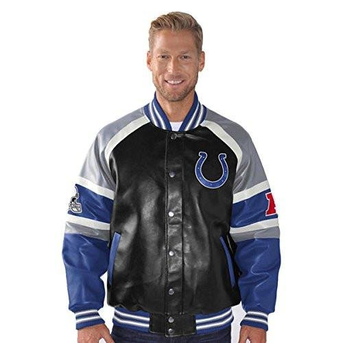 Pleather Varsity Jacket - Licensed Sports Apparel Indianapolis Football Colts P-Leather Button-up Varsity Jacket - M