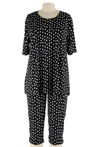 Jostar Stretchy Capri Pants Set with Short Sleeve, Plus Sizes, Print in Dots Design Black Color in 2XL (Dot Capri Set)