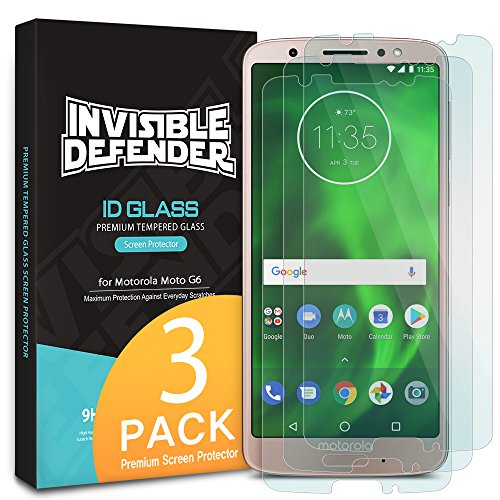 Ringke Screen Protector Compatible with Motorola Moto G6 (2018) - Invisible Defender Tempered Glass [3-Pack] Case Compatible Ultimate Clear Shield, High Definition Quality, 9H Hardness Technology
